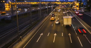 Traffic, evening and night scene. Time lapse stock footage