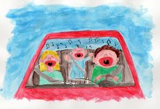 Traffic: Family singing Royalty Free Stock Photography