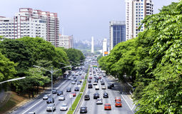 Traffic on the famous 23 de Maio Avenue in Sao Paulo, Brazil Royalty Free Stock Photography