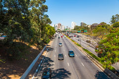 Traffic on the famous 23 de Maio Avenue in Sao Paulo, Brazil Royalty Free Stock Image