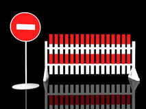 Traffic fence with sign stop royalty free illustration