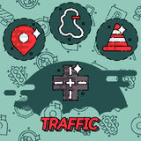 Traffic flat concept icons Stock Photography