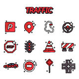 Traffic flat icons set. With navigation light controller flat icons isolated vector illustration Stock Photography