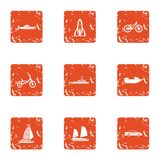 Traffic flow icons set, grunge style. Traffic flow icons set. Grunge set of 9 traffic flow vector icons for web isolated on white background Royalty Free Stock Photos