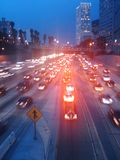 Traffic flow. Red lights on the highway Stock Photo