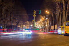 Traffic flow on the street in Tbilisi. Traffic flow on the street Shota Rustaveli in Tbilisi Royalty Free Stock Photos