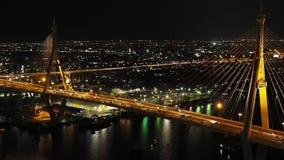 Traffic flow at twilight on the Bhumibol Bridge stock video footage