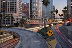 Traffic flowing through Los Angeles. stock photography