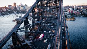 Traffic flowing over the Sydney Harbour Bridge at Sunset stock images
