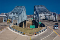 Traffic flows from Jefferson City Missouri across the Missouri River on U.S. 54/63 - Missouri River Bridge Stock Image