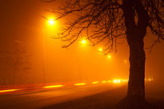 Traffic on foggy road Royalty Free Stock Images