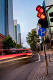 Traffic in Frankfurt in the evening Stock Images