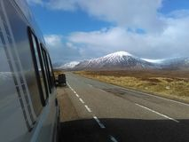 Traffic free road across Rannoch Moor royalty free stock photo