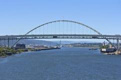 Traffic on the Freemont bridge Portland Oregon. stock photo