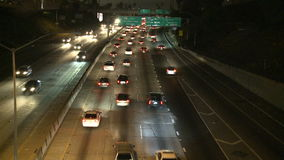 Traffic on the 101 Freeway at Night  Los Angeles stock video footage