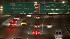 Traffic on the 101 Freeway at Night  Los Angeles stock video