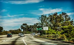 Traffic on 101 freeway southbound. California, USA Stock Photo