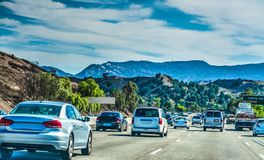 Traffic on 101 freeway southbound. In Los Angeles, California Stock Photos
