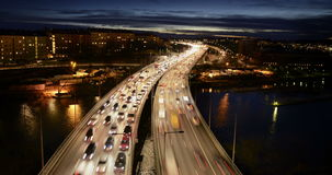 Traffic on Freeway. In Stockholm stock video