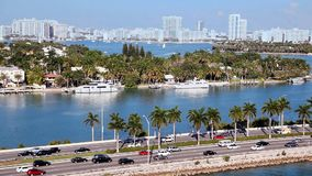 Traffic on freeway to Miami Beach in Florida, Aerial view stock video footage