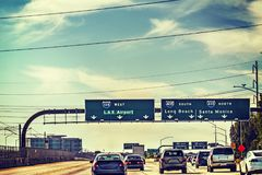 Traffic on 105 freeway westbound. Los Angeles, California Royalty Free Stock Images