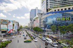 Traffic in front of mahboonkrong shopping center Royalty Free Stock Photo