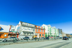 Traffic in front of shops in Reykjavik Royalty Free Stock Photo