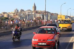 Traffic on Galata Bridge Stock Photo