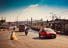 Traffic on Galata Bridge on August 24, 2013 in Istanbul, Turkey. Stock Photography