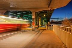 Traffic on Gdanski Bridge at Night in Warsaw Royalty Free Stock Images