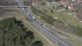Traffic on a German motorway. Traffic at the Spree forest motorway junction in Germany stock footage