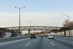 Traffic Going Under Bridge in Illinois Royalty Free Stock Photography