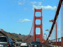 Traffic on the Golden Bridge, San Francisco, USA. Heavy traffic on the famous Golden Bridge on a clear autumn day, San Francisco, USA royalty free stock photos
