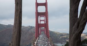 Golden Gate Bridge. Traffic on Golden Gate Bridge as seen from the lookout on the south side stock video footage