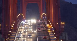 Traffic on Golden Gate Bridge in the morning. Heavy traffic in the morning on Golden Gate Bridge, connecting San Francisco to Marin County, close-up view stock footage