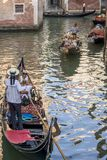Traffic of gondolas, Venice, Italy Royalty Free Stock Images