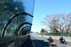 Traffic on Grafton Bridge in Auckland, New Zealand. Royalty Free Stock Image