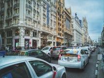 Traffic on Gran Via street in Madrid. Stock Photography