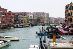 Traffic on Grand Canal in Venice city in rain Royalty Free Stock Images