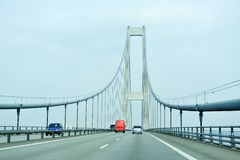 Traffic on the great belt bridge Stock Image