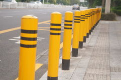 Traffic guardrail. Traffic fence feature in the highway waiting pavilion stock photo