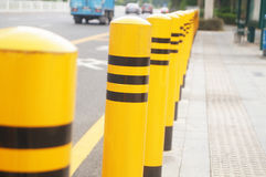 Traffic guardrail. Traffic fence feature in the highway waiting pavilion stock images