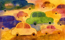 Traffic. Handmade illustration. Watercolor on paper Stock Photography