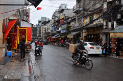 Traffic in Hanoi. Crowd of motorbike drivers on the street Royalty Free Stock Image