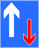 Traffic has priority over oncoming vehicles. Road traffic sign Stock Photo
