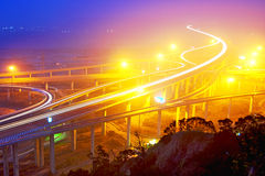 Traffic on highway. Traffic track on highway in the night Stock Image