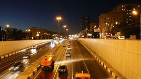 Traffic on the highway of big city (at night), Moscow, Russia Royalty Free Stock Photography