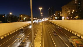 Traffic on the highway of big city (at night), Moscow, Russia Royalty Free Stock Image