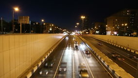 Traffic on the highway of big city (at night), Moscow, Russia Stock Photography
