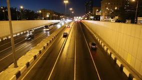Traffic on the highway of big city (at night), Moscow, Russia Stock Images